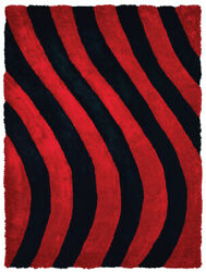 Red Shag/flokati Synthetics Waves Lines Banded Area Rug Geometric 2100 21630