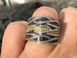 Sterling Silver Set Of Three Yellow Diamond And Green Diamond Stack Rings