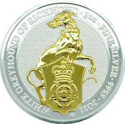 The White Greyhound Richmond Queenand039s Beasts 2021 2 Oz Gilded Silver Bullion Coin