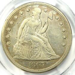 1865 Seated Liberty Silver Dollar 1 - Pcgs Xf Detail Ef - Civil War Date Coin