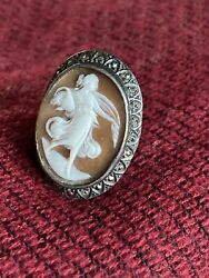 Rare 1800's Vintage Flowing Lady/aphrodite Cameo Ring Fits Size 7.5-7.75