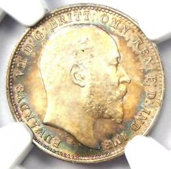 1907 Great Britain England Maundy Edward Vii 4p Coin - Ngc Ms66+ Plus Grade