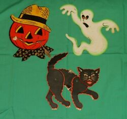 Vintage Halloween Beistle Luhrs Decorations Lot Scarecrow Jointed Cat Ghost