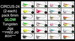24pk 6mm Tungsten W/free Jig Tackle Box Ice Fishing And Fly Jig 8 Hook Crappie