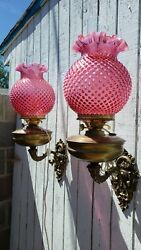 Pr Rare Double Wicked Oil Lamp Sconces Hobnail Shades Angels England Electrified