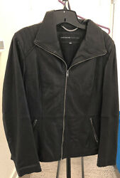 MARC NEW YORK ANDREW MARC LEATHER JACKET BLACK LARGE Good Condition $40.00