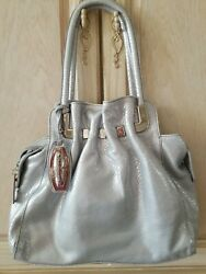 NWOT GENUINE NICOLI ITALIAN LEATHER SNAKE PATTERN SILVER BAG WITH CHROME ACCENTS $49.95