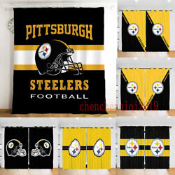 2 Panel Pittsburgh Steelers Bedroom Window Curtain Living Room Curtains Drapes