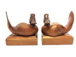 Vintage Pair Carved Burl Wood Duck Decorative Decoy Style Bookends Book Ends