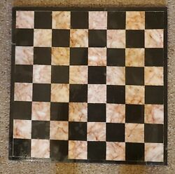 Vintage Handmade Natural Marble Gem Stone Chess Checkers Game Gaming Board 13x13