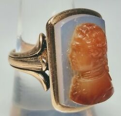 19th Century 14k Gold Men's Stone Cameo Ring Size 8.25