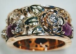 1970s Retro 14k Rose White And Yellow Gold Diamonds Carved Rubies Ring Size 6.75