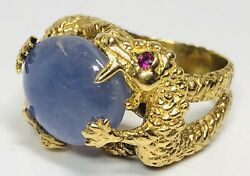 Vintage 14k Yellow Gold Bypass Dragons With Sapphire Cabochon Ring Size 7.25