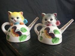 Vintage Py Cat Salt And Pepper Shaker Set Made In Japan Collectible