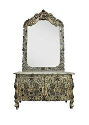 Antiques Handcrafted Furniture Dressing Table Mirror Wood Vanities Dressers Home