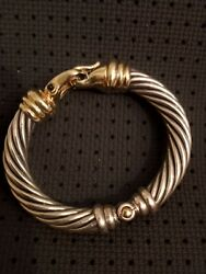 David Yurman 10mm Sterling Silver 14k Yellow Gold Classic Cable Buckle Bracelet