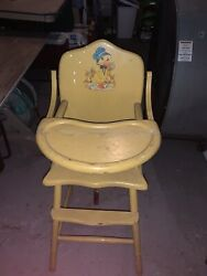 Vintage Wooden Baby Feeding High Chair With Duck Decal And Tray
