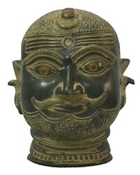 Antique Brass Lord Shiva Head Sculpture Statue Handcrafted Indian Home Decor