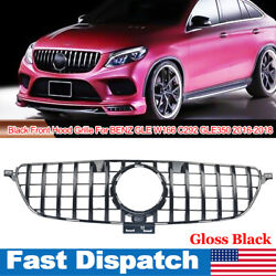 Black Front Hood Grille For Benz Gle Coupe W166 C292 Gle350 2016-2018 Gtr Style