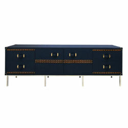 Blue Leather Customized Drawer Chest Buffet Cabinet