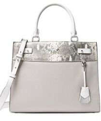 New MICHAEL KORS Reagan Lg Satchel snake python embossed leather trim pewter bag $208.99