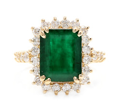 5.20ct Natural Emerald And Diamond 14k Solid Yellow Gold Ring