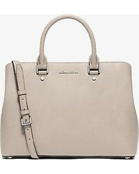 New Michael Kors Savannah Saffiano Leather Large Satchel cement silver bag tote $191.99