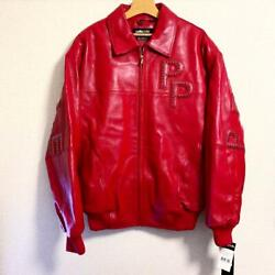 Pelle Pelle Authentic Supreme Design Studded Arc Logo Leather Jacket Red 46 New