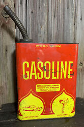 Vtg 50s 2 Gallon Gasoline Tin Can W/ Tractor Truck Car Graphics Service Station