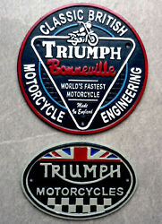 Triumph Motorcycle Signs Cast Iron Reproductions Buy Individually Or As Pack