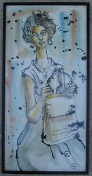 VINTAGE AFRICAN AMERICAN WATERCOLOR PAINTING JEFF DONALDSON 1961 BLACK MOVEMENT