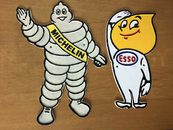 Michelin Man Esso Garage Signs Large Cast Iron Repro Advertising Plaques