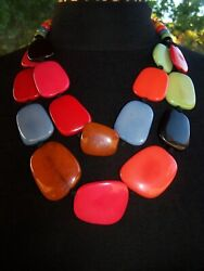 Rare Extra Large Colorful Lucite Double Strand Beaded Necklacecoreen Cordova