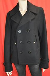 Nwt Brit Swiftsure Black Wool Logo Buttons Double Breasted Coat M