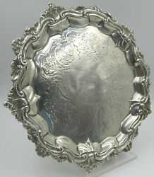 Antique Georgian Sterling Silver Salver Footed Plate - 1835 John Welby 350g