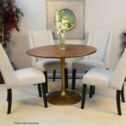 Carolina Classics Alden Wood Top 40 Round Dining Table In Elm And Antique Gold