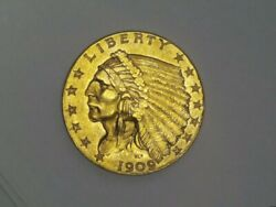 1909 Usa 2.5 Indian Head Gold Coin Uncirculated