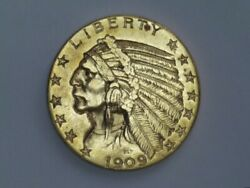 1909-d Usa 5 Indian Head Gold Coin Uncirculated