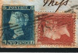 Gb Sg.14/29 Mixed Franking 2d Blue Used Abroad Crimean War Cover 1855 Kent Mc13a