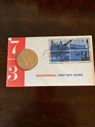1973 Bicentennial Commemorative Medal And 1st Day Issue Stamps Boston Tea Party