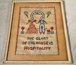 Primitive Antique 12x 14 Cross Stitch Sampler The Glory Of The House...