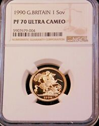 1990 Great Britain Gold Sovereign Ngc Pf70 Ultra Cameo Just Graded Pq Lm204