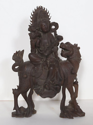 Unknown, Chinese, Goddess With Baby On Foo Dog, Carved Wood Sculpture