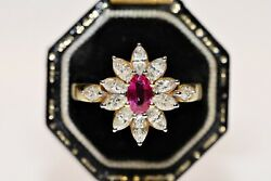 Vintage Navette 18k Gold Natural Diamond And Ruby Decorated Pretty Strong Ring