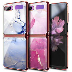 For Samsung Galaxy Z Flip 5g Case Luxury Plating Shockproof Marble Phone Cover