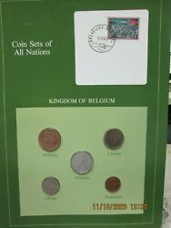 Belgium Complete Set In Franklin Mint Coins Of All Nations Card. 1969-81