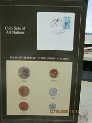 Burma Complete Set In Franklin Mint Coins Of All Nations Card.  6pc.