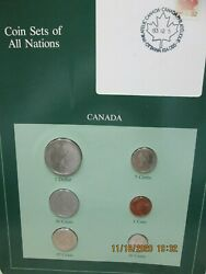Canada Complete Set In Franklin Mint Coins Of All Nations Card.  6pc.1984-5