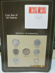 Indonesia Set In Franklin Mint Coins Of All Nations Card.7 Pc 1970-9