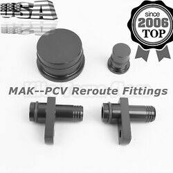 Pcv Reroute Fittings W/ Reroute Port Plug And Resonator Plug For 6.6l Duramax
